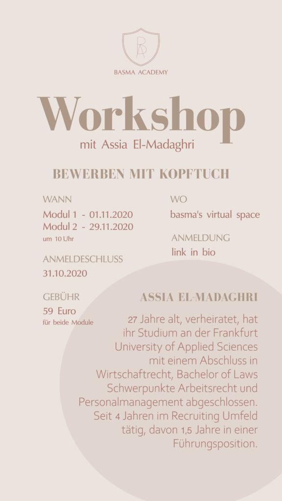 Auf dem Bild sind die Workshop Details zu sehen.